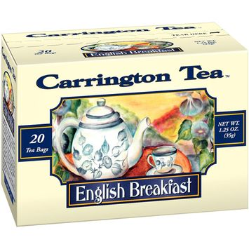 Carrington Tea English Breakfast Tea Bags, 20 count per box, 1.25 oz, Pack of 6