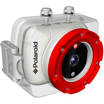 Polaroid - Xs9 Hd Waterproof Flash Memory Camcorder - White/orange