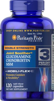 Puritan's Pride 2 Units of Double Strength Glucosamine, Chondroitin & MSM Joint Soother-120-Capsules