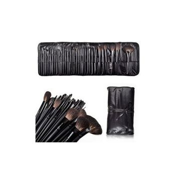 Alice MelodySusie Natural Hair Made 32 Count Super Professional Studio Brush Set with Leather Pouch