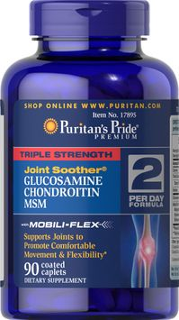Puritan's Pride 2 Units of Triple Strength Glucosamine, Chondroitin & MSM Joint Soother-90-Caplets