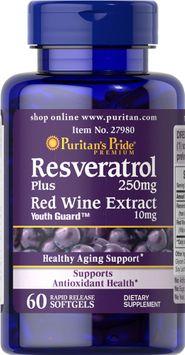 Puritan's Pride 2 Units of Resveratrol 250 mg-60-Softgels