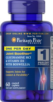 Puritan's Pride 2 Units of One Per Day Glucosamine, Vitamin D3 & Boswellia-60-Caplets