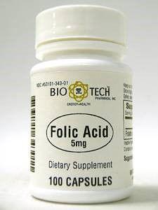 Folic Acid 5 mg 100 caps by Bio-Tech