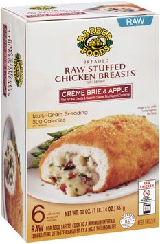 Barber Foods® Creme Brie & Apple Breaded Raw Stuffed Chicken Breasts 6 ct Box