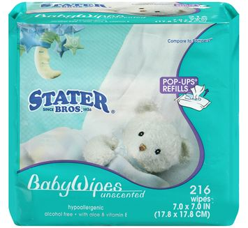 Stater Bros.® Baby Wipes Unscented 216 ct.