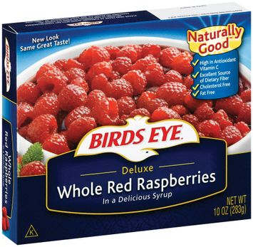 Birds Eye Deluxe Whole In Syrup Red Raspberries