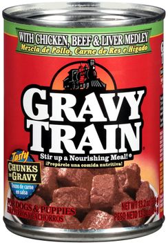 Gravy Train Chunks in Gravy with Chicken, Beef & Liver Medley Wet Dog Food, 13.2-Ounce Can
