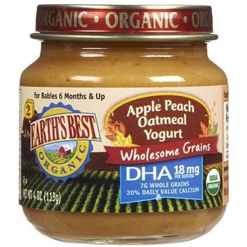 Earth's Best Organic Apple Peach Oatmeal Yogurt, 4 Ounce Jars, 12 Count