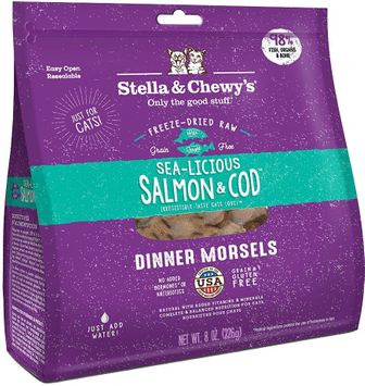 Stella & Chewy's Sea-Licious Salmon & Cod Dinner Morsels Freeze-Dried Raw Cat Food