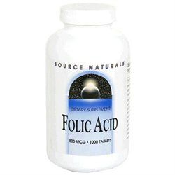 Source Naturals Folic Acid - 800 mcg - 1000 Tablets