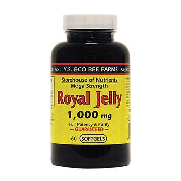 YS Royal Jelly/Honey Bee Royal Jelly Mega Strength 1000 MG - 60 Softgels - Bee Products