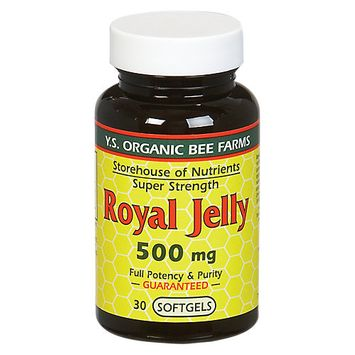 YS Royal Jelly/Honey Bee Royal Jelly Super Strength 500 MG - 30 Softgels - Bee Products