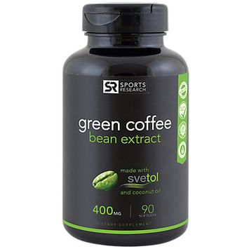 Green Coffee Bean Extract 400 mg, 45% Chlorogenic Acids, 90 Liquid Softgels, Sports Research Corporation