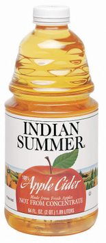 Indian Summer Not from Concentrate 100% Pasteurized Apple Cider Fresh UPC 41760 39390
