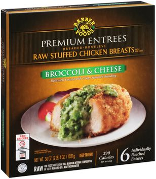 Barber Foods® Premium Entrees Broccoli & Cheese Raw Stuffed Chicken Breasts 6 ct Box