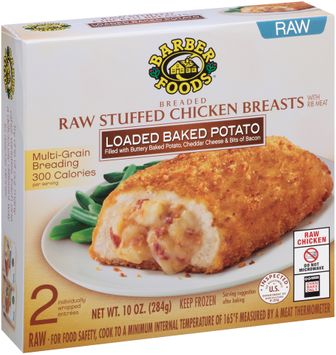 Barber Foods® Loaded Baked Potato Breaded Raw Stuffed Chicken Breasts 2 ct Box