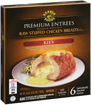 Barber Foods® Premium Entrees Kiev Raw Stuffed Chicken Breasts 6 ct Box