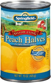 Springfield® Lite Yellow Cling Peach Halves in 100% Fruit Juice