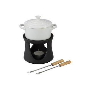 Le Creuset Mini Cocotte Fondue Set Color: White