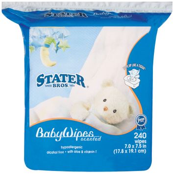 Stater Bros. Scented 7.0 X 7.5 In Baby Wipes 240 Ct Stand Up Bag