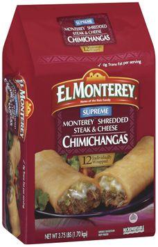 El Monterey Supreme Monterey Shredded Steak & Cheese 12 Ct Chimichangas