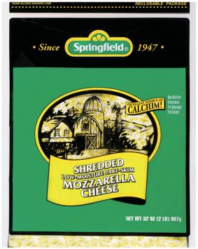 Springfield Mozzarella Shredded Low-Moisture Part-Skim Cheese