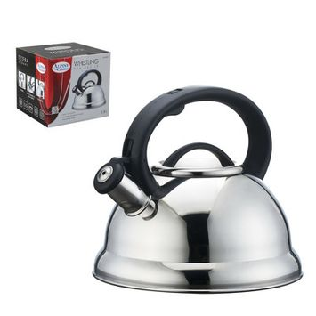Alpine Cuisine Alpine Stainless Steel Finish Encapsulated Base 18 10 Whistling Tea Kettle Pot HHK0KXZP3-1614