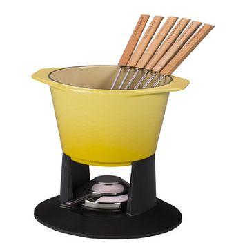 Le Creuset Enameled Cast-Iron Traditional Fondue Pot, 1-3/4-Quart, Soleil