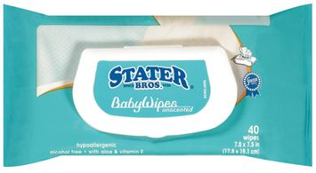 Stater Bros. Unscented Refill Baby Wipes 40 Ct Wrapper