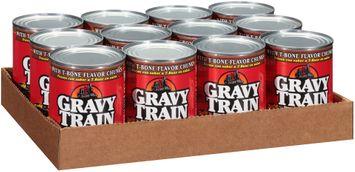 gravy train chunks in gravy with t-bone flavor chunks wet dog food 1