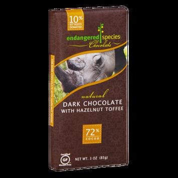 Endangered Species Chocolate Dark Chocolate With Hazelnut Toffee Bar Natural - Black Rhino