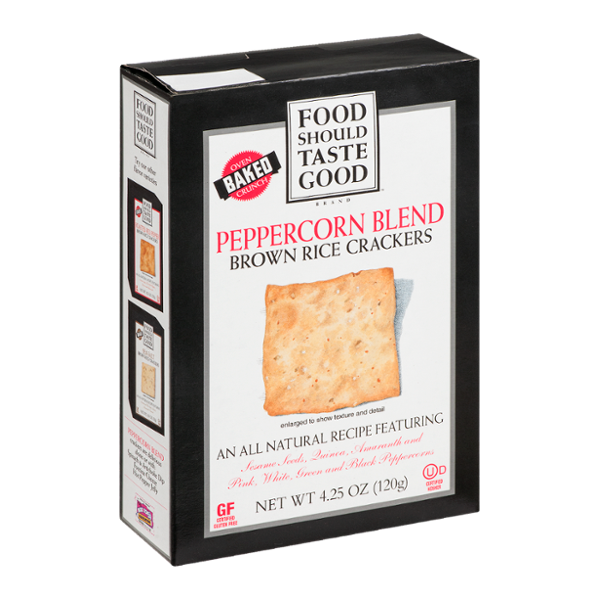 Food Should Taste Good Brown Rice Crackers Peppercorn Blend