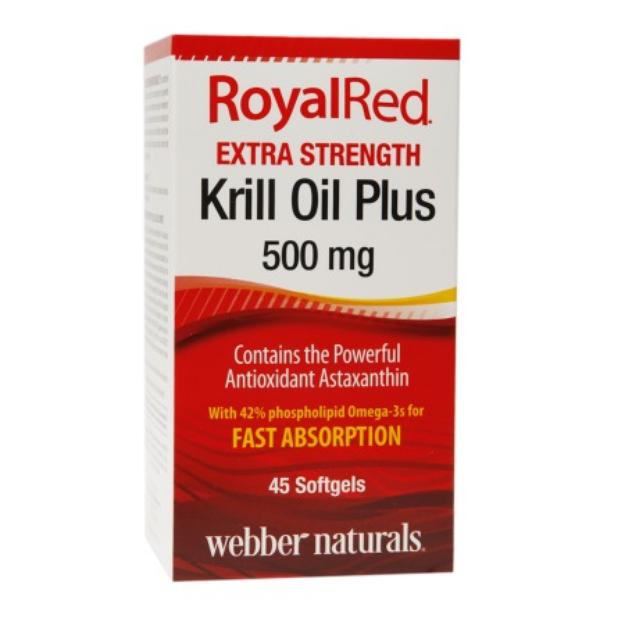 Webber Naturals RoyalRed Extra Strength Krill Oil Plus 500mg, Softgels