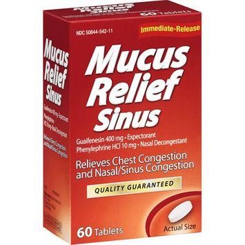 LNK International: Mucus Relief Sinus Tablets Expectorant/Nasal Decongestant, 60 ct