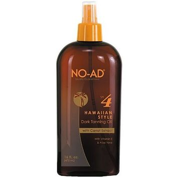 No Ad NO-AD Hawaiian Style Dark Tanning Oil, SPF 4, 16 Ounces