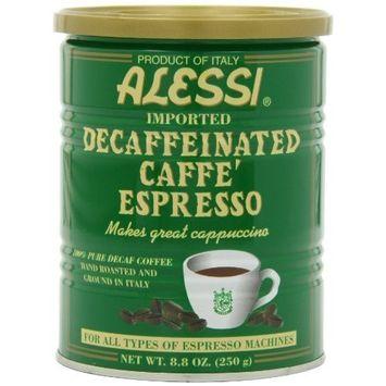 Vigo Alessi Decaf Espresso Ground Coffee, 8.8-Ounce Cans (Pack of 6)