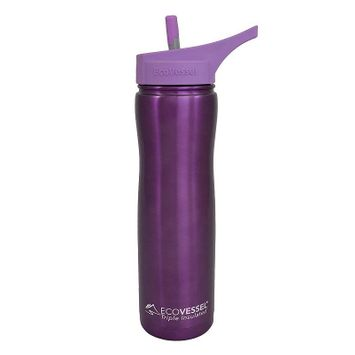 Ecovessel Eco Vessel Summit Triple Insulated Stainless Steel Water Bottle with Flip Straw, Purple, 24-Ounce