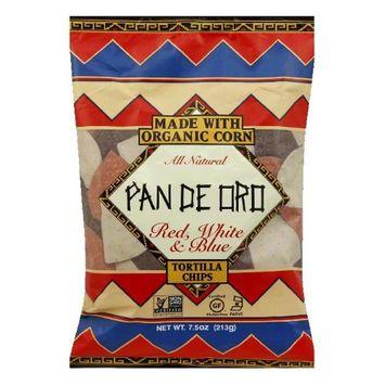 Pan De Oro Red White Blue Tortilla Chips Case of 12 bags 7.5 oz per bag