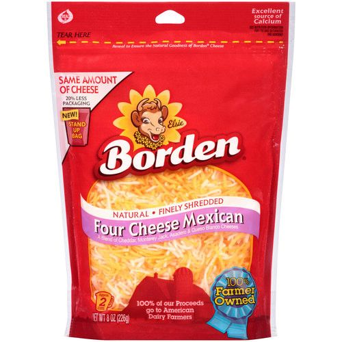 Borden Natural Finely Shredded Four Cheese Mexican Cheese, 8 oz