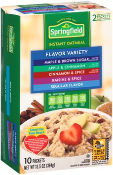 Springfield Flavor Variety Maple & Brown Sugar/Apple & Cinnamon/Cinnamon & Spice/Raisins & Spice/Regular Flavor Instant Oatmeal