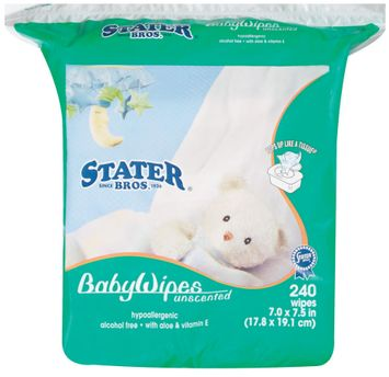 Stater Bros. Unscented 7.0 X 7.5 In Baby Wipes 240 Ct Stand Up Bag