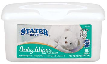 Stater Bros. Unscented Baby Wipes 80 Ct Tube