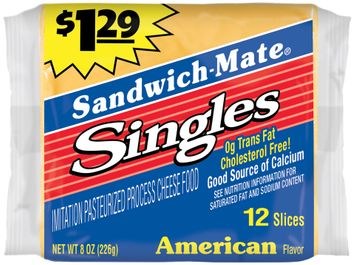 Sandwich-Mate® $1.29 Singles American Flavor Imitation Pasteurized Process Cheese Food 12 ct Pack