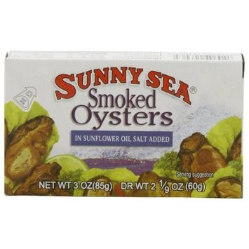 Sunny Sea Smoked Oysters in Oil, 3 Ounce Cans (Pack of 24)