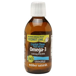 Webber Naturals Crystal Clean from the sea Omega-3 1250mg EPA/DHA, Coconut Lime, 6.76 oz