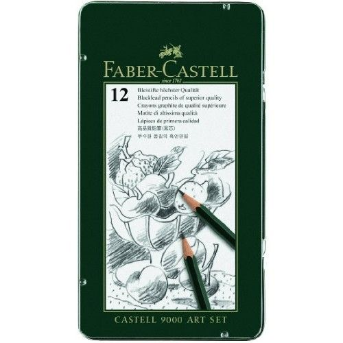 Faber Castell Faber-Castell Castell 9000 Smooth Graphite Pencil, Assorted Tip, Black, Pack of 12