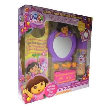 Nick Jr. Dora The Explorer Gift Set Dora the Explorer Bath Time Beauty Adventure 6pc - Mirror, Bath Foam, Door Hanger, Head Band, Ponytail Holders