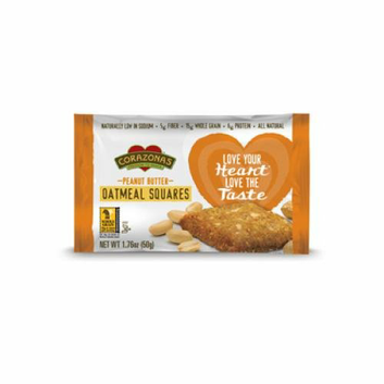 Corazonas Oatmeal Squares Peanut Butter Case of 12 1.76 oz