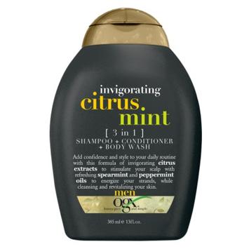 OGX Mens Invigorating 3-in-1 Shampoo + Conditioner + Body Wash Citrus Mint
